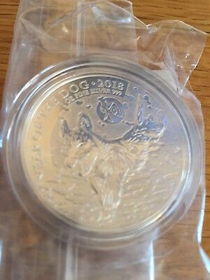 2018 UK Royal Mint Lunar Year of the Dog 1oz Silver Bullion Coin,Original Pack.