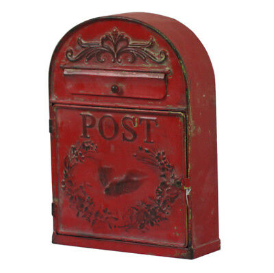 Metal Post Box  Mail Letter Red Distressed Paint Finish Vintage Look