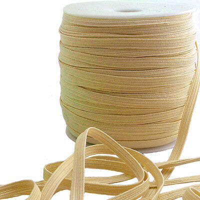 "50 yards Roll Light Nude Flat Braided Elastic - 1/4"" (6 mm)"