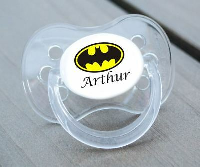 Personalised Dummy Pacifier Soother,all Teats,sizes & Colours, Batman Personal