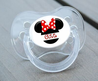 Personalised Dummy Pacifier Soother,all Teats,sizes & Colours, Minnie Ears
