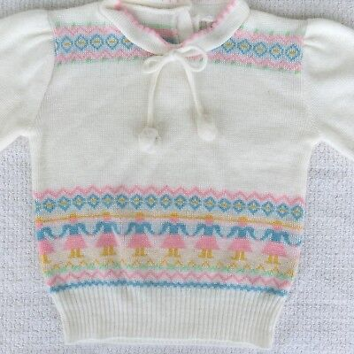 Vintage Carter's Toddler Girls Acrylic Sweater Size 3T Pastel Pom Poms