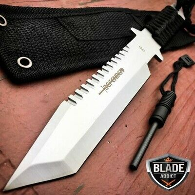 "11"" Military Hunting Tactical FIXED BLADE Knife Survival Bowie + Firestarter SET"