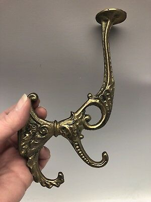 Vintage Heavy Cast Solid Brass Victorian Style Triple Hook Hat Hall Tree