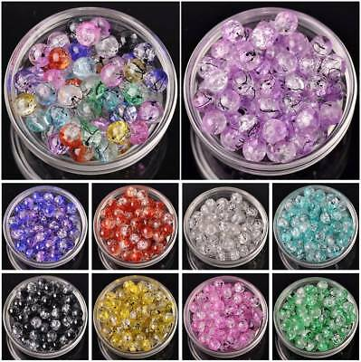 Wholesale 50pcs 10mm Round Cracked Crystal Glass Loose Spacer Beads DIY Jewelry