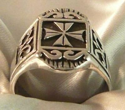 Ring Cross Templars And Lily 925 Silver Sterling Silver Templar Knight Ring