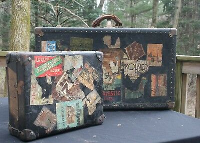 PAIR Antique Travel Luggage W/ HOTEL LABELS Early 1900s Sweet! Decor Suitcases