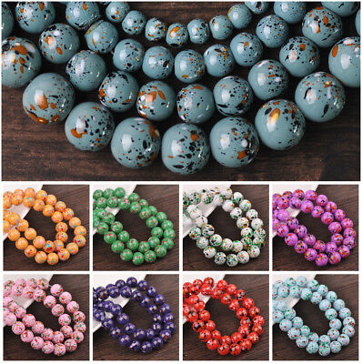 Spots Coated Round Glass Loose Spacer Beads 6mm 8mm 10mm 12mm for Jewelry Making