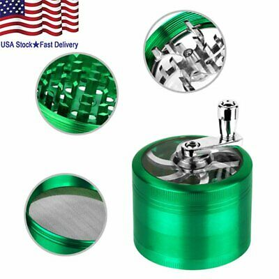 55mm Zinc Alloy Hand Crank Herb Spice Crusher Muller Mill Tobacco Grinder US NEW
