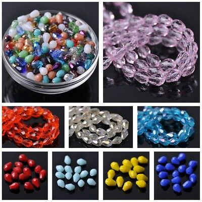 50pcs 7x5mm Small Teardrop Faceted Crystal Glass Loose Craft Beads Lots Colors
