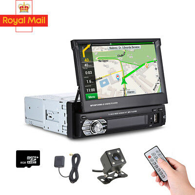 1DIN 7' Bluetooth Car Radio Stereo USB/FM Touch Screen Head Unit GPS Maps Camera