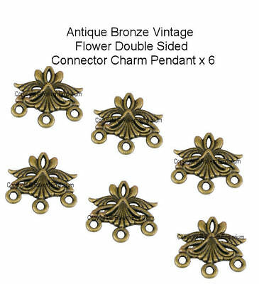 Flower Antique Bronze Connector Charm, Joiner x 6 Jewellery Findings Craft FC1
