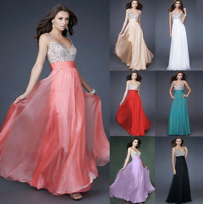 Sequin Long Chiffon Evening Formal Bridesmaid Maxi Dress Summer Party Prom Gown