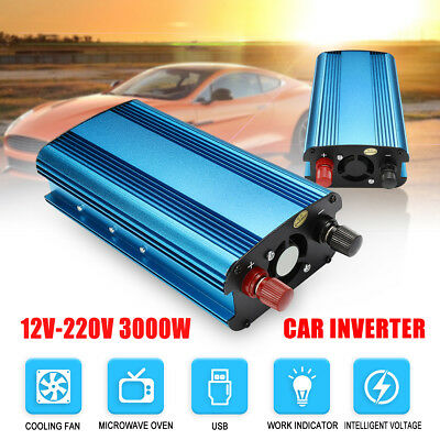 1500W-3000W Peak DC 12V to AC 240V Portable Car Power Inverter Charger Converter