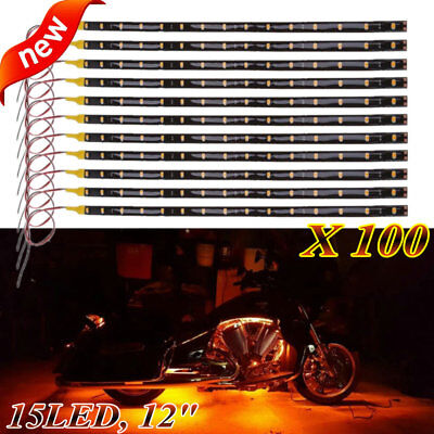"""LOT 100 DC 12V Waterproof 1Ft 15 LED Strip Underbody Light with 6"""" wires 4 motor"""