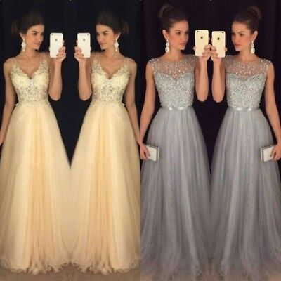 Women Chiffon Formal Wedding Bridesmaid Dress Long Evening Party Ball Prom Gown