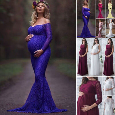 Women Pregnant Maternity Lace Floral Long Dress Maxi Gown Photography Photo Prop