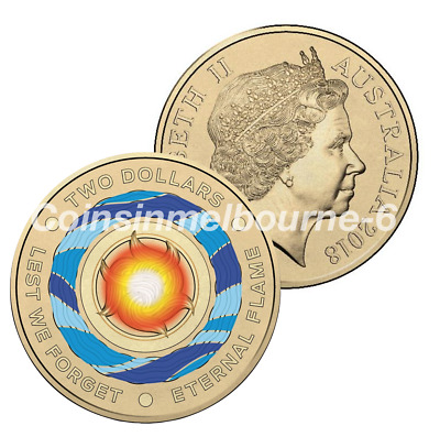 2018 Lest We Forget Eternal Flame Anzac - $2 Dollar Coin