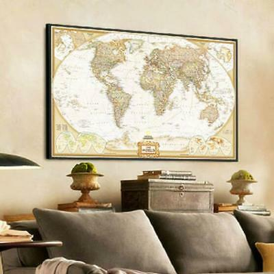72x48cm Retro Vintage World Map Antique Paper Wall Poster Art Home Room DecoB