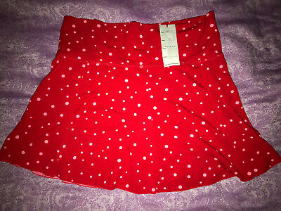 NWT - Indah Red Polka Dots Junior Skirt - Size L Large