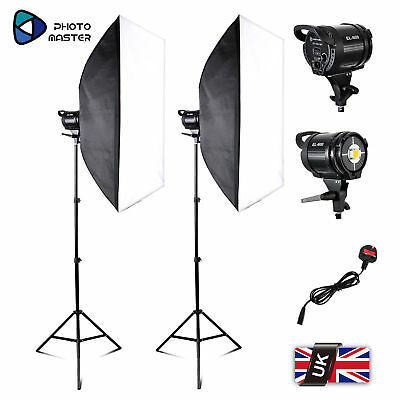2xPhoto Master EL-60W LED Lights Stand Bowens Mount Soft Box Continuous Kit