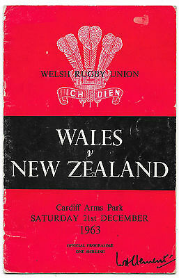 1963 - Wales v New Zealand, Autographed (Wales) Test Match Programme