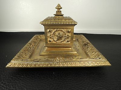 "Antique Victorian Era Gilt Bronze Inkwell, Figural Urn  6.69"" Base"