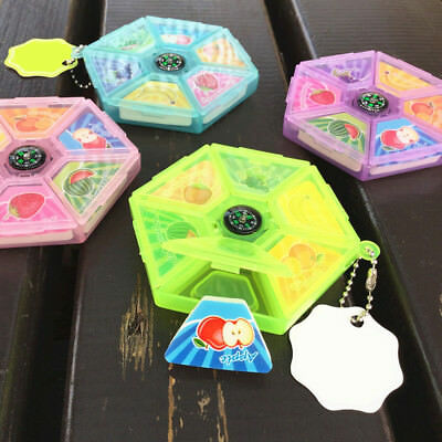6Pcs fruit Platter Scented Rubber Eraser with Compass School Supplies Kid Gift