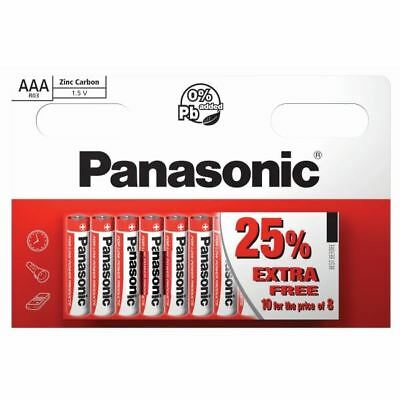 10 x AAA Panasonic Zinc Carbon Batteries LR03 1.5V MN2400