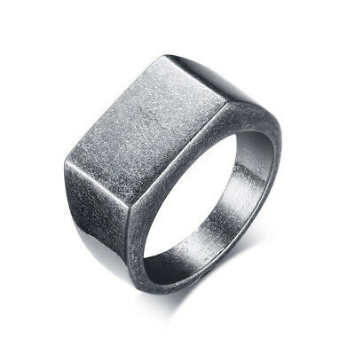 10mm Vintage Silver Band Men's Stainless Steel Party Casting Gift Ring Size 8-12