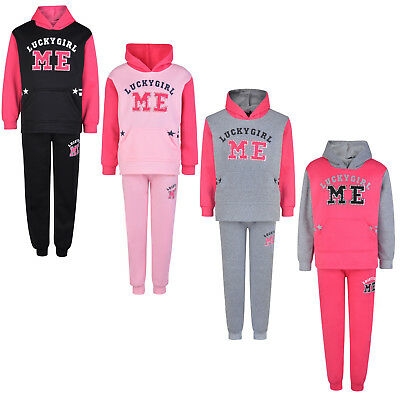 Kids Tracksuit Girls Jog Set Lucky Girl Me Hooded Top & Joggers Bnwt