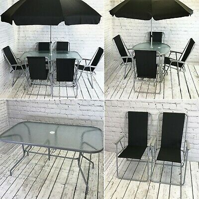 6 and 8 Piece Metal Garden Patio Furniture Set with Folding Chairs and Parasol