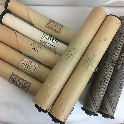Vintage Lot of 9 Player Piano Rolls With No Boxes: Supertone QRS Vocalstyle etc