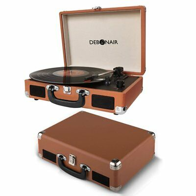 Debonair Retro Turntable Vinyl Record Player Built in Speakers Vintage Brown