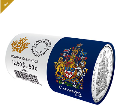 2018 CIRCULATION COIN ROLL – 50 CENTS Canada's Coat of Arms No. 163763