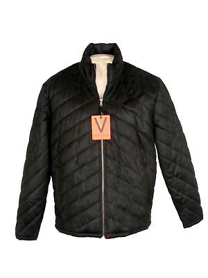 Quilted Insulated Jacket Robert Comstock Vertical Black Medium NWT $275