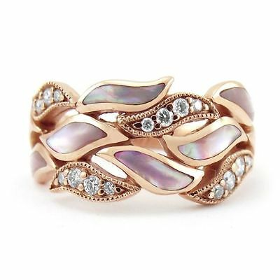 Rose Gold leaves 925 Silver Women Jewelry Wedding Engagement Ring Gift Sz 6-10