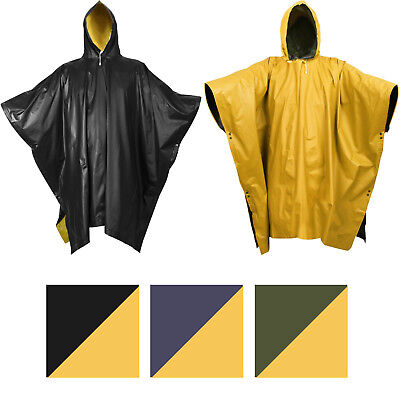 Reversible Waterproof PVC Outdoor Rain Poncho High Visibility with Hood & Snaps