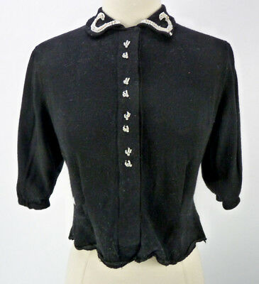 Vintage 50s Black Beaded Cardigan Size S Pinup Sweater Pintuck Rockabilly