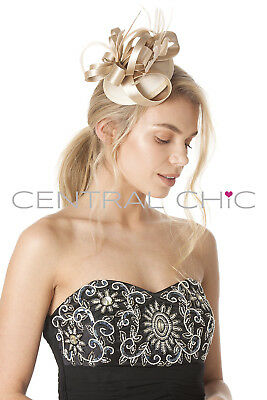 Central Chic Elegant Fascinator Hat Wedding Bridal Feather Hair Clip Races Ascot