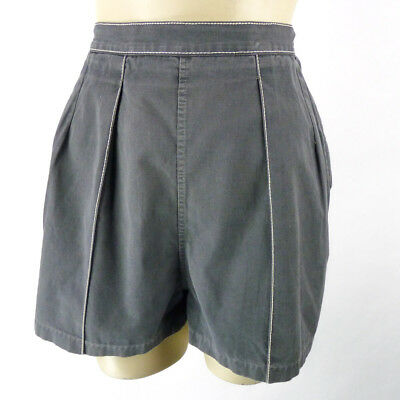 """Vintage 50s High Rise Womens Shorts Size XS 25"""" Waist Gray Cotton Pinup VLV"""