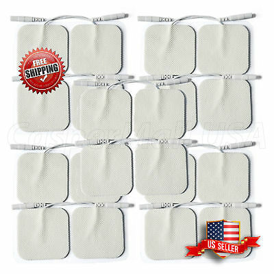 "TENS/EMS Unit 20 Electrode Pads 2""x2"" in. Reusable Self Stick Gel FDA Approved"