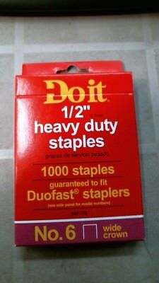"""DoitBest 347770  1/2"""" Heavy Duty Staples, #6, Wide Crown, 1000 ct."""