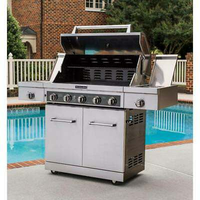 KITCHENAID 5-BURNER GAS Grill in Stainless Steel w/ Sear and ...