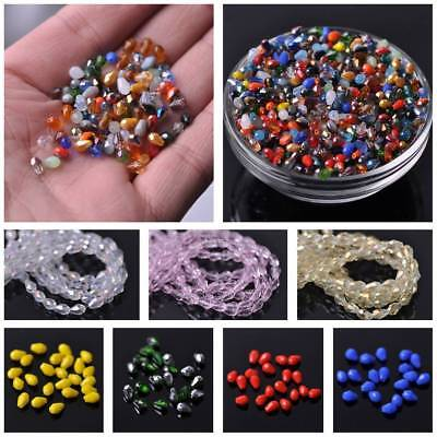 100pcs 5x3mm Small Teardrop Faceted Crystal Glass Loose Craft Beads Lots Colors