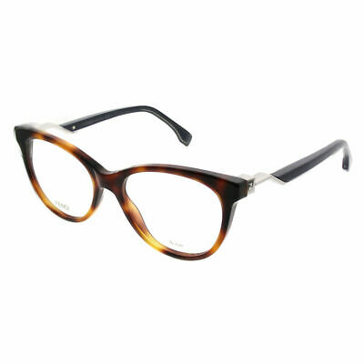 ce008d16472 Authentic Fendi Cube FF 0201 IPR Havana Blue Plastic Cat-Eye Eyeglasses 52mm