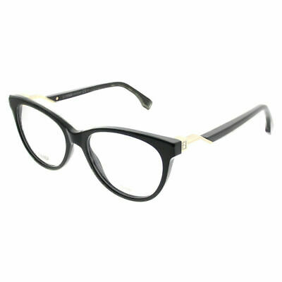 e5dccd552f Authentic Fendi Cube FF 0201 807 Black Plastic Cat-Eye Eyeglasses 52mm