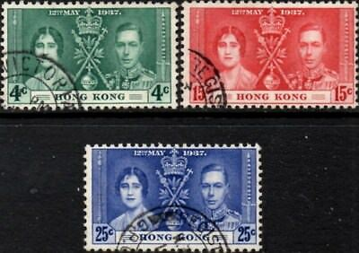 Hong Kong 1937 George VI  Coronation  SG.137/139  Used   Scott:151-153