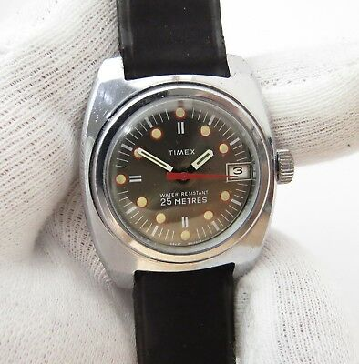 """TIMEX,Manual Wind,Mid-sized ,""""25m Date Dial"""" Same Era Band  MEN'S WATCH,555,L@@K"""
