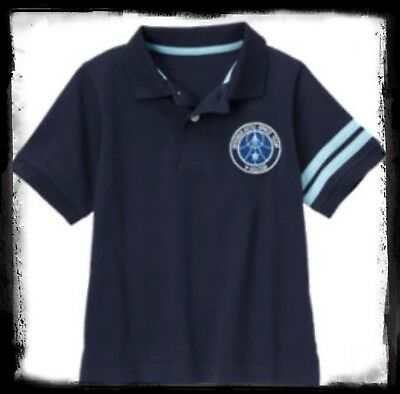 NWT 8 Gymboree SPACE VOYAGER HENLEY  Collared SHIRT TOP team Navy Blue Patch Cot
